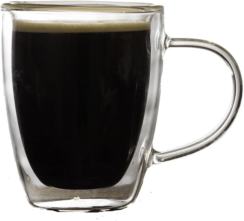 Palais Glassware Cafe Espresso Double walled Mugs - Set of 2 (6 Ounces)