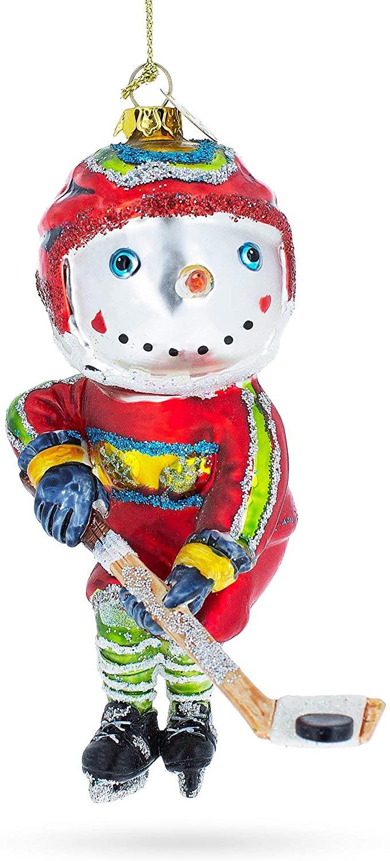 BestPysanky Snowman Playing Hockey Glass Christmas Ornament
