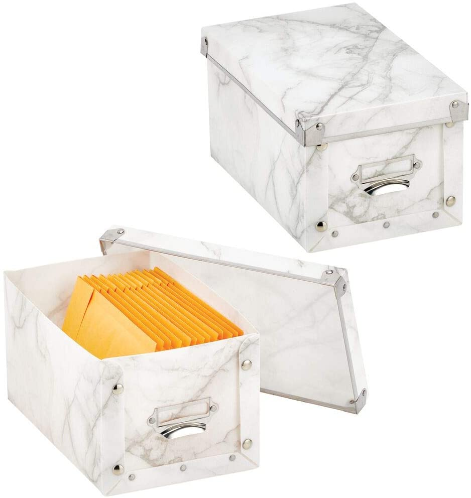 mDesign Decorative Modern Plastic Collapsible Household Storage Organizer Box with Lid and Metal Plate, for Home, Office, and Bedroom Storage - 2 Pack - Marble