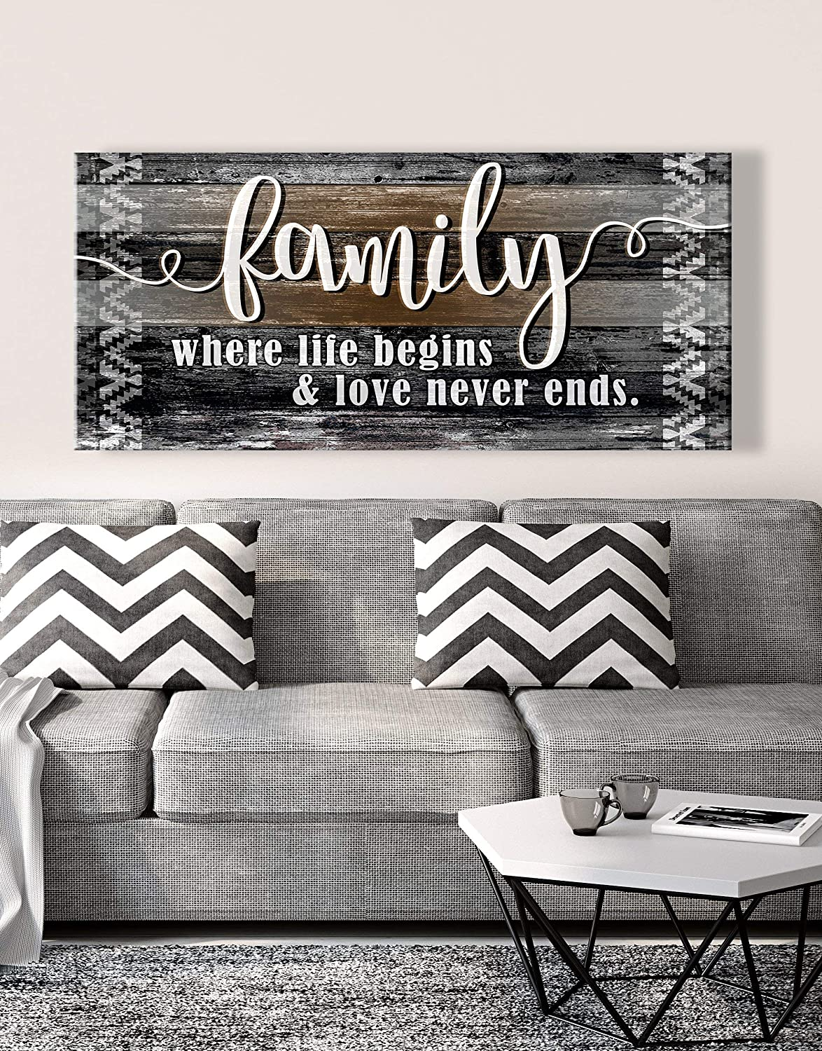 Sense of Art | Family is Where Life Begins and Love Never Ends Quote | Wood Framed Canvas | Ready to Hang Family Wall Art for Home and Kitchen Decoration