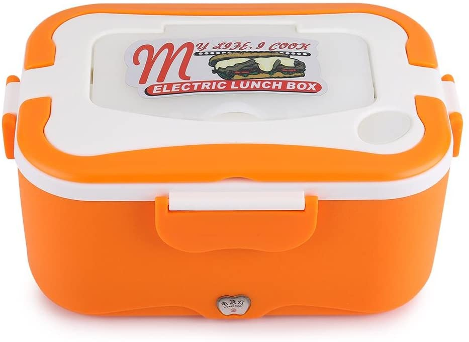 Electric Lunch Box, 1.5L Portable 12V/24V Stainless Steel Car Electric Heating Lunch Box Traveling Bento Warmer Container with chopsticks, fork, spoon(Orange 24V)