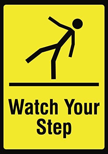 Watch Your Step Yellow Picture Sign - Large Hazard Warning Safety Signs - Aluminum Metal 6 Pack, 12x18