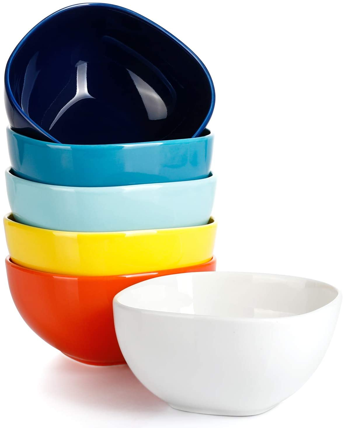Sweese 110.002 Porcelain Square Bowl Set - 14 Ounce for Cereal, Soup and Fruit - Set of 6, Hot Assorted Colors