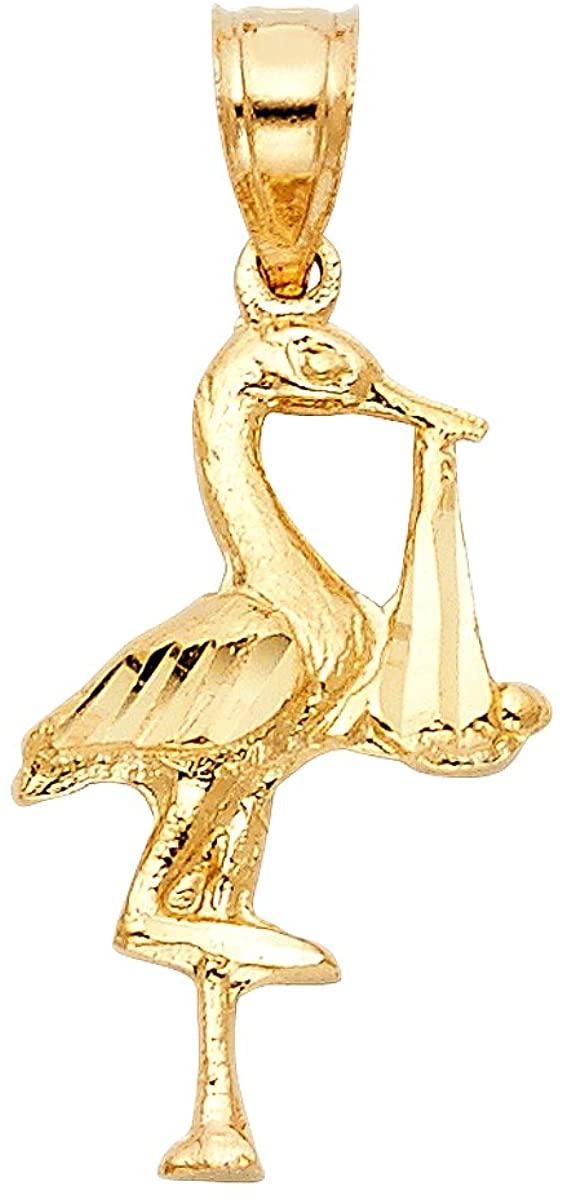14K Yellow Gold Crane Pendant