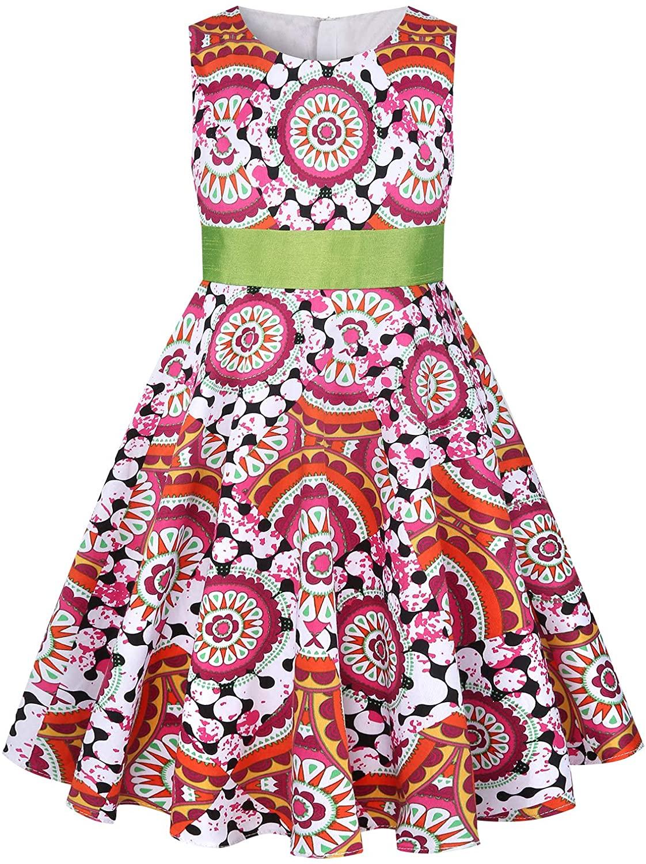 SPEINY Girls' Sleeveless Classic Print Sundress Casual Mini Dresses 3t-11t