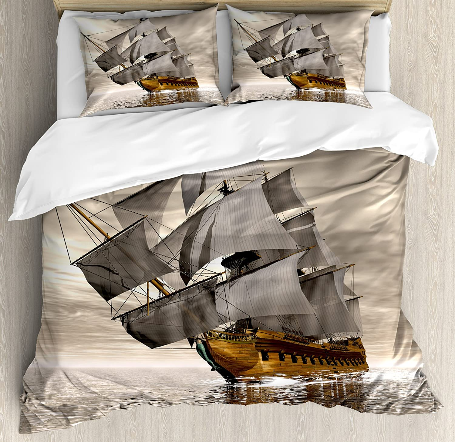 Ambesonne Ocean Duvet Cover Set, 3D Style Pirate Ship Sea Historic Vessel Cloudy Sky Voyage Exploration Theme, Decorative 3 Piece Bedding Set with 2 Pillow Shams, King Size, Coffee Grey