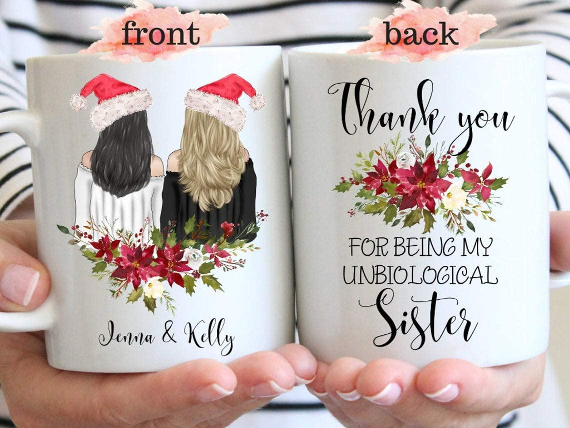 Nalips Thank You For Being My Unbiological Sister, Best Friend Gift, Christmas Mug, Bff Long Distance Friendship Mugs, YouRe My Person, Girlfriend