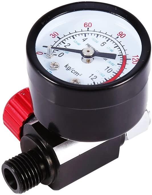 Estink Pressure Regulator, 1/4inch BSP Auto Spray Gun Air Regulator with Pressure Gauge Diaphragm Control DH