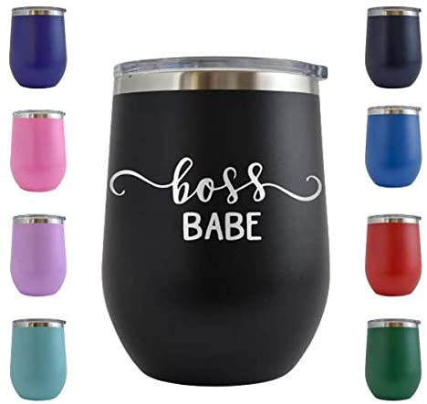 Boss Babe - Engraved 12 oz Stemless Wine Tumbler Cup Glass Etched - Funny Birthday Gift Ideas for him, her, mom, dad, husband, wife (Black - 12 oz)