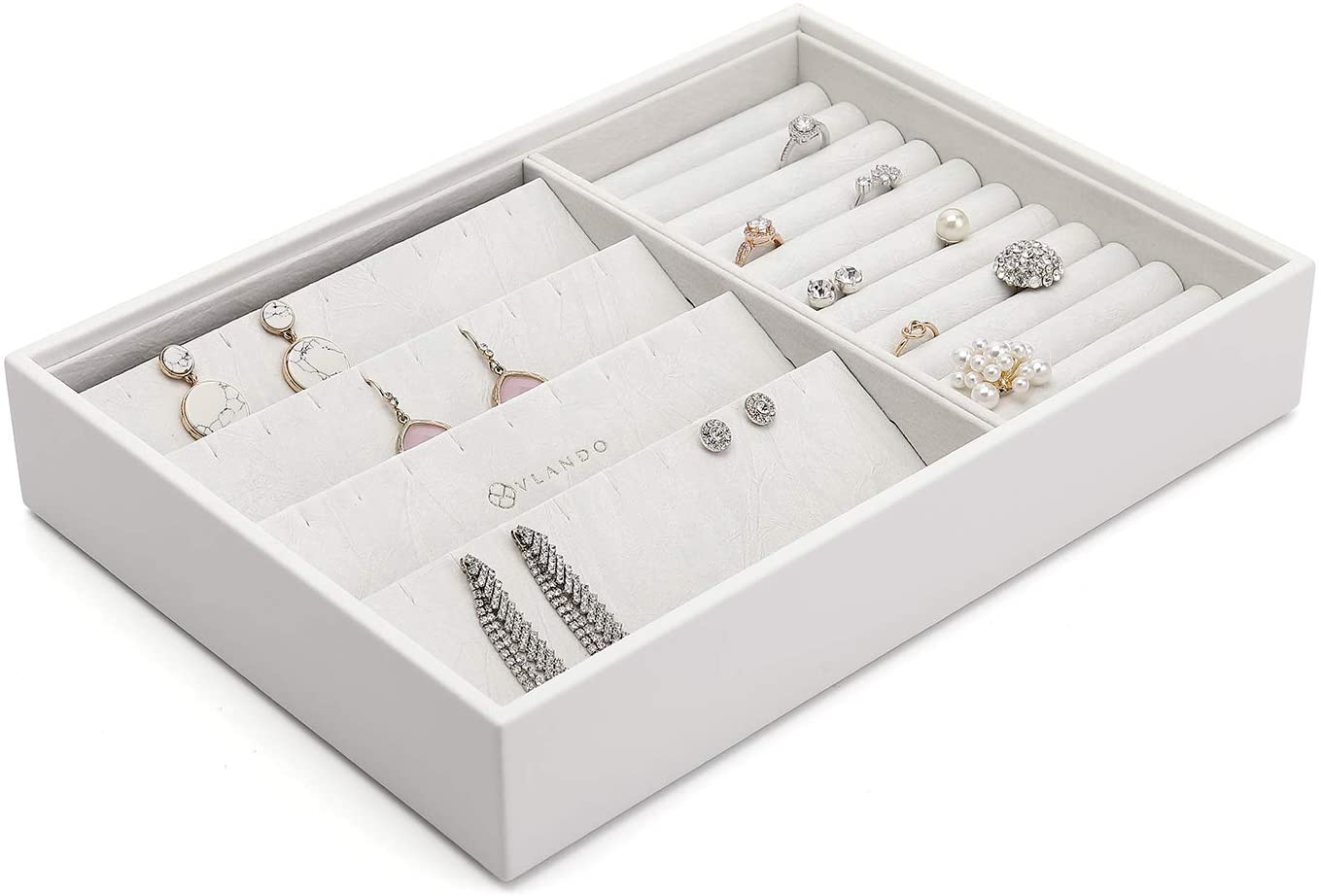 Vlando Stackable Jewelry Tray - Faux Leather Multi-Purpose Jewelry Accessories Display Storage and Earring Necklace Bracelet Rings Organizer (Earrings and Rings Holder, White)