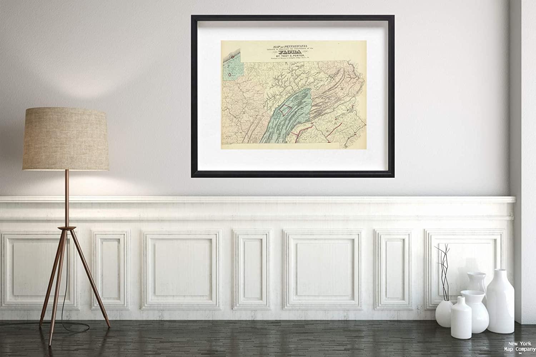 1872 Map State Atlas Penn. Flora Vintage Fine Art Reproduction Size: 18x24 Ready to Frame