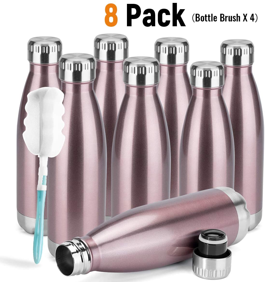 MANYHY 17 oz Stainless Steel Vacuum Insulated Water Bottle Metal Double Wall Cola Shape Travel Thermal Flask For Outdoor Sports Camping Hiking With Cleaning Brush (Rose Gold, 8 Pack)