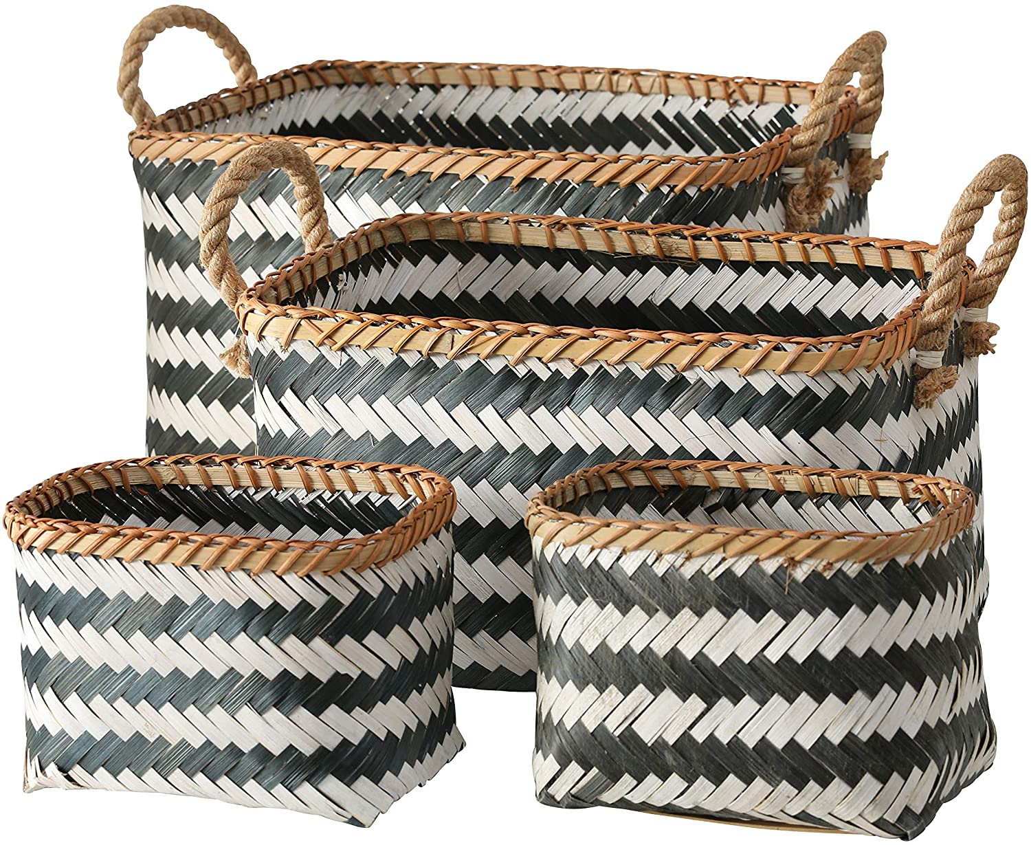 WHW Whole House Worlds Black and White Organizer Baskets, 4 Piece Set, Rectangular, Rustic, Natural Rope Side Handles, Bamboo Wicker Weave, Various Sizes 17, 15 and 8 3/4 Inches Long