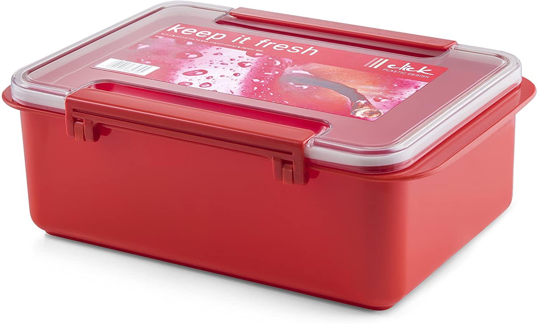 YBM Home Airtight Rectangle Food Storage Container - 3.1 Quart (104 oz) - Superior Leakproof Snap Locking Lid Cover -25-1221-Red with Clear Cover (1, Red with Clear Cover)