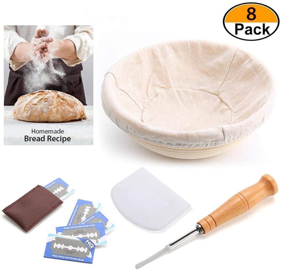 YANXIAOLIU 9 Inch Bread Banneton Proofing Basket, Professional Baking Tool 8 Pack Set : Banneton Proofing Basket + Storage Bag + Cloth Liner + Scraper + Metal Blade for Professional and Home Baker
