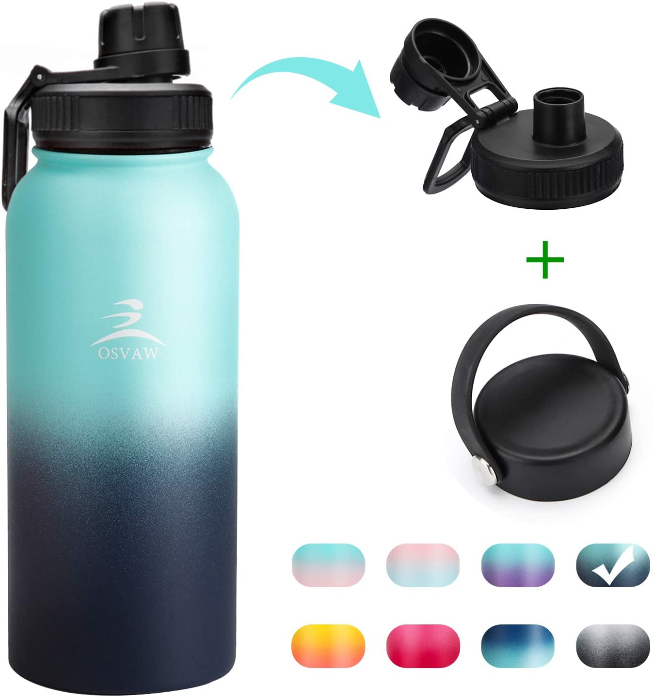 OSVAW Sports Insulated Water Bottle with Spout Lid and Handle Lid, Stainless Steel Double Wall Vacuum Insulated, Sweat Proof Design Keeps Liquids Hot or Cold