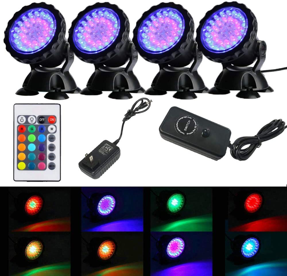 iMeshbean Submersible 36 LED RGB Pond Spot Lights Waterproof Underwater Pool Fountain Color Chaning Lamp +IR Remote (Set of 4)