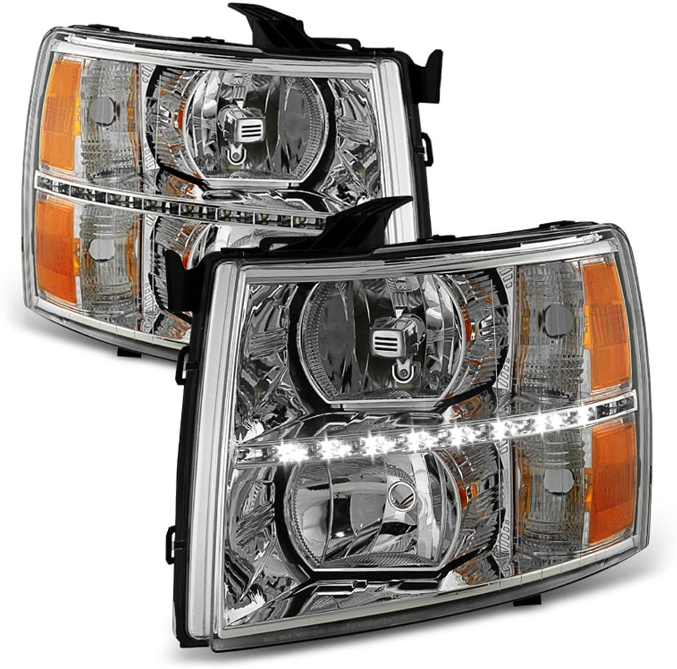 ACANII - For 2007 2008 2009 2010 2011 2012 2013 Chevy Silverado 1500 LED DRL Headlights Headlamps Driver + Passenger