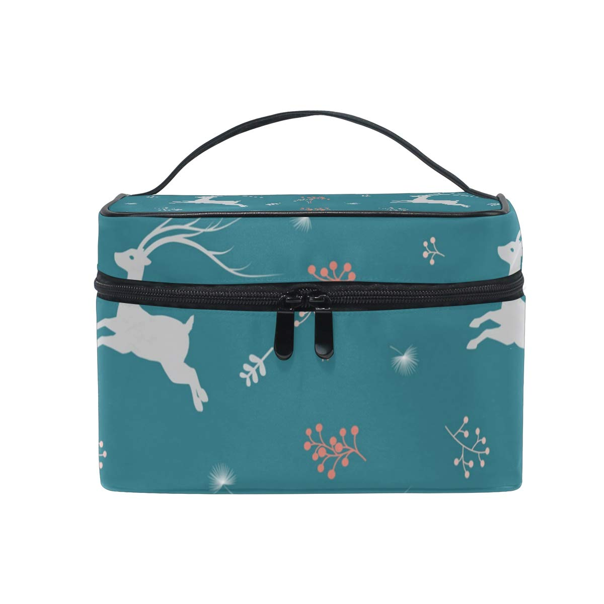 SAVSV Cosmetic Bag, Deer And Wildflower Travel Makeup Organizer Bag Cosmetic Case Portable Train Case for Women Girls