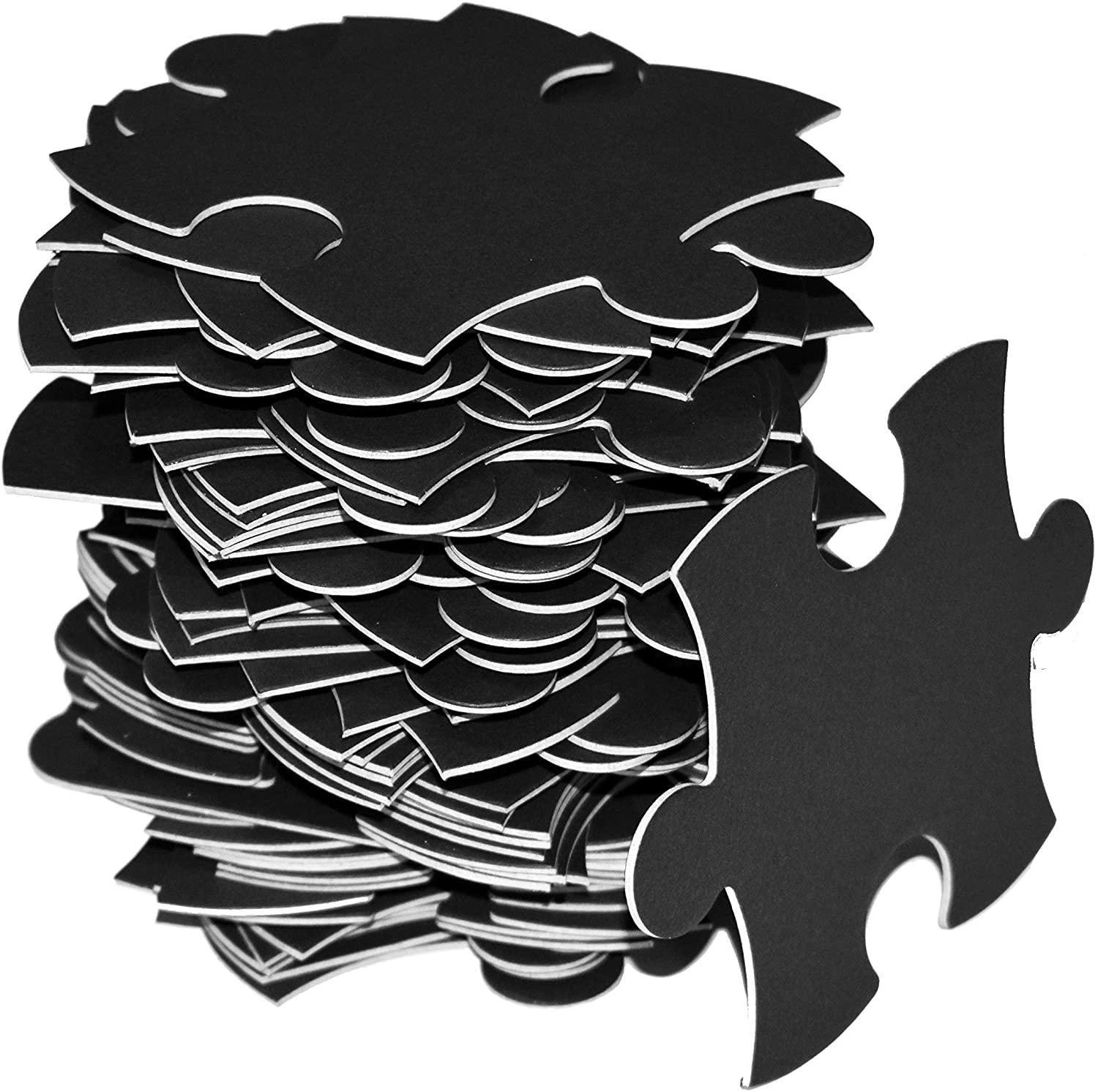 Blank Puzzle Black, 23x33 inches, 70 Large Numbered Black Puzzle Pieces, Piece Size 3.5x3.5 inches