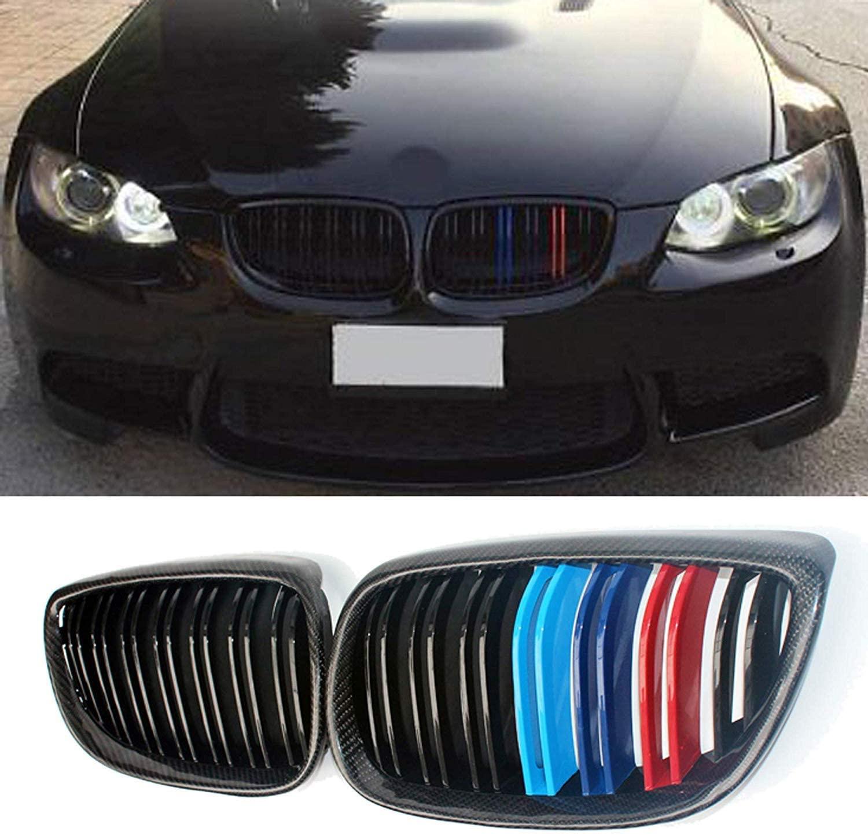 E92 Grille, Carbon Fiber Front Kidney Grill Grille for BMW 3 Series E92 E93, Not for M3 (LCI 2010-2013, Carbon Fiber (Gloss M Color))