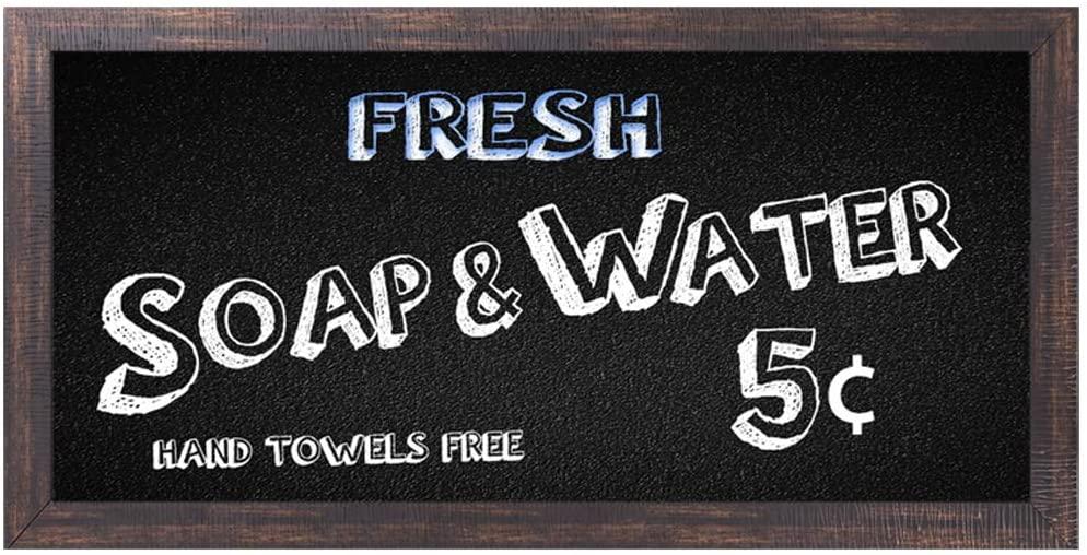 Original Retro Imitation Wood Frame Design Fresh Soap And Water Tin Metal Signs Wall Art, Thick Tinplate Print Poster Wall Decoration