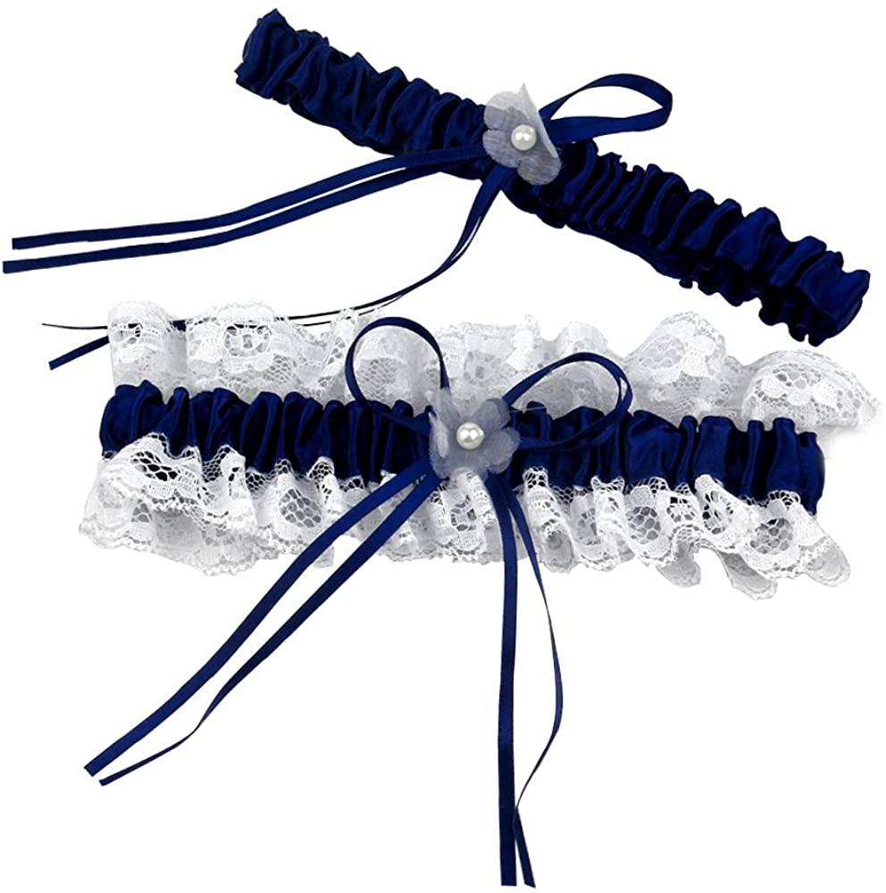 KateMelon Lace Garter Set, Navy Blue and White, Set of 2