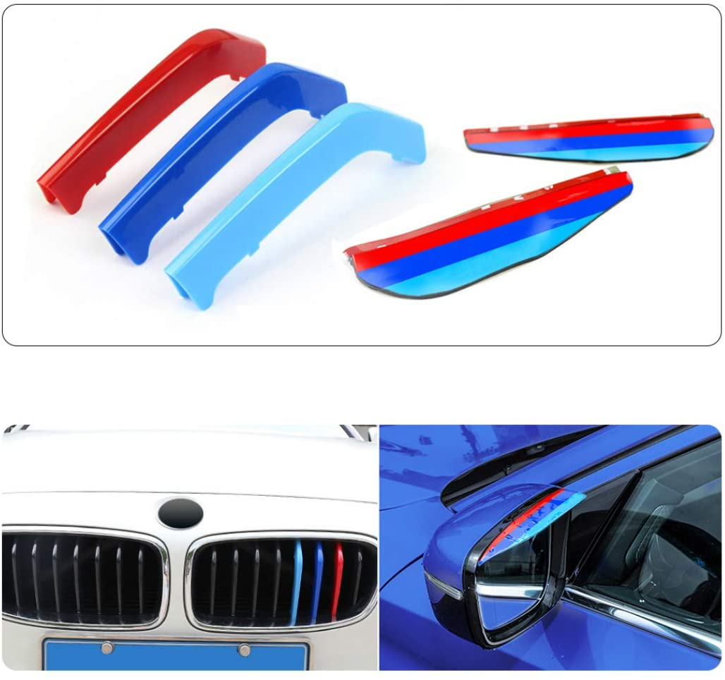 For 13-17 3 Series (8Grilles) M-Colored Stripe Grille Insert Trims M Sport Strips Center Kidney Grill+Rear View Mirror Eyebrow Frame Rainproof 5Pcs