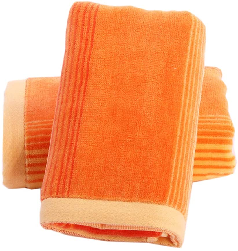 Pidada Hand Towels Set of 2 Striped Pattern 100% Cotton Soft Absorbent Towel for Bathroom 13.8 x 29.5 Inch (Orange)