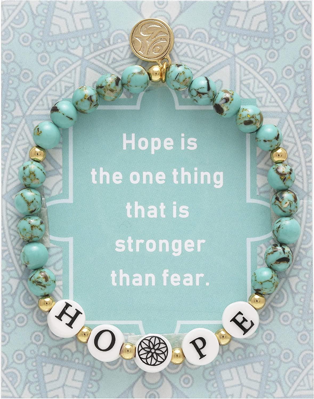 BONALUNA My Wish Hope Mantra 6mm Green Turquoise Color Stone Meditation & Healing Bracelets for Women