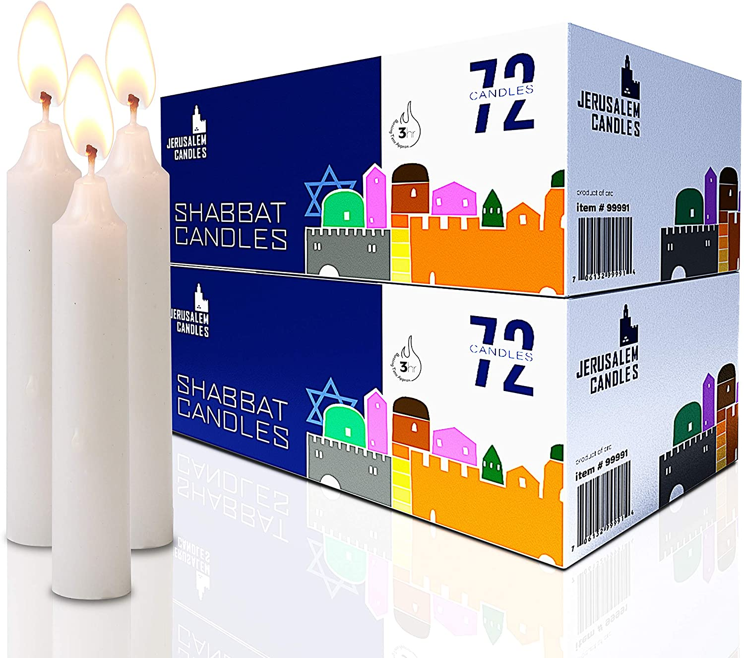Shabbat Candles - Traditional Shabbos Candles - 3 Hour - 2-Pack x 72 Candles, (144 Candles)