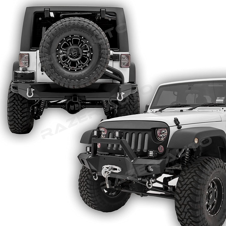 Razer Auto Black Super Rock Crawler Front Bumper + Rear Bumper+Tire Carrier W/Single handed Linkage Operation, 2x D-Rings, 2