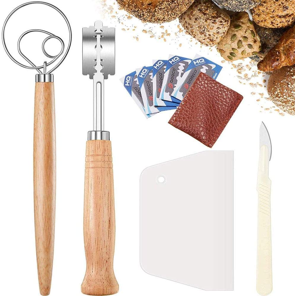 Bread Lame, Stainless Steel Bread Scoring Tool, Bread Cutter, Danish Dough Whisk Set, Baking Supplies for Kitchen