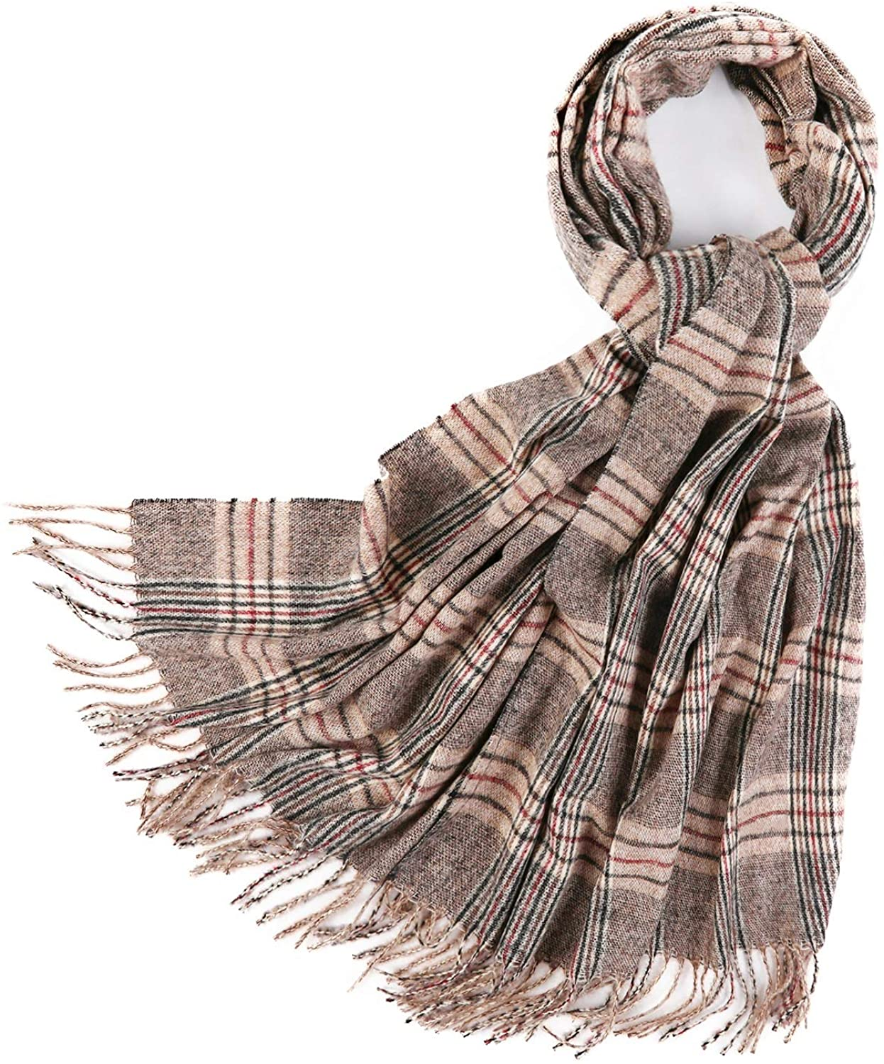PINCTROT Chunky Large Blanket Scarf for Men Women Warm Cozy Plaid Tartan Wrap Super Soft Shawl Cape