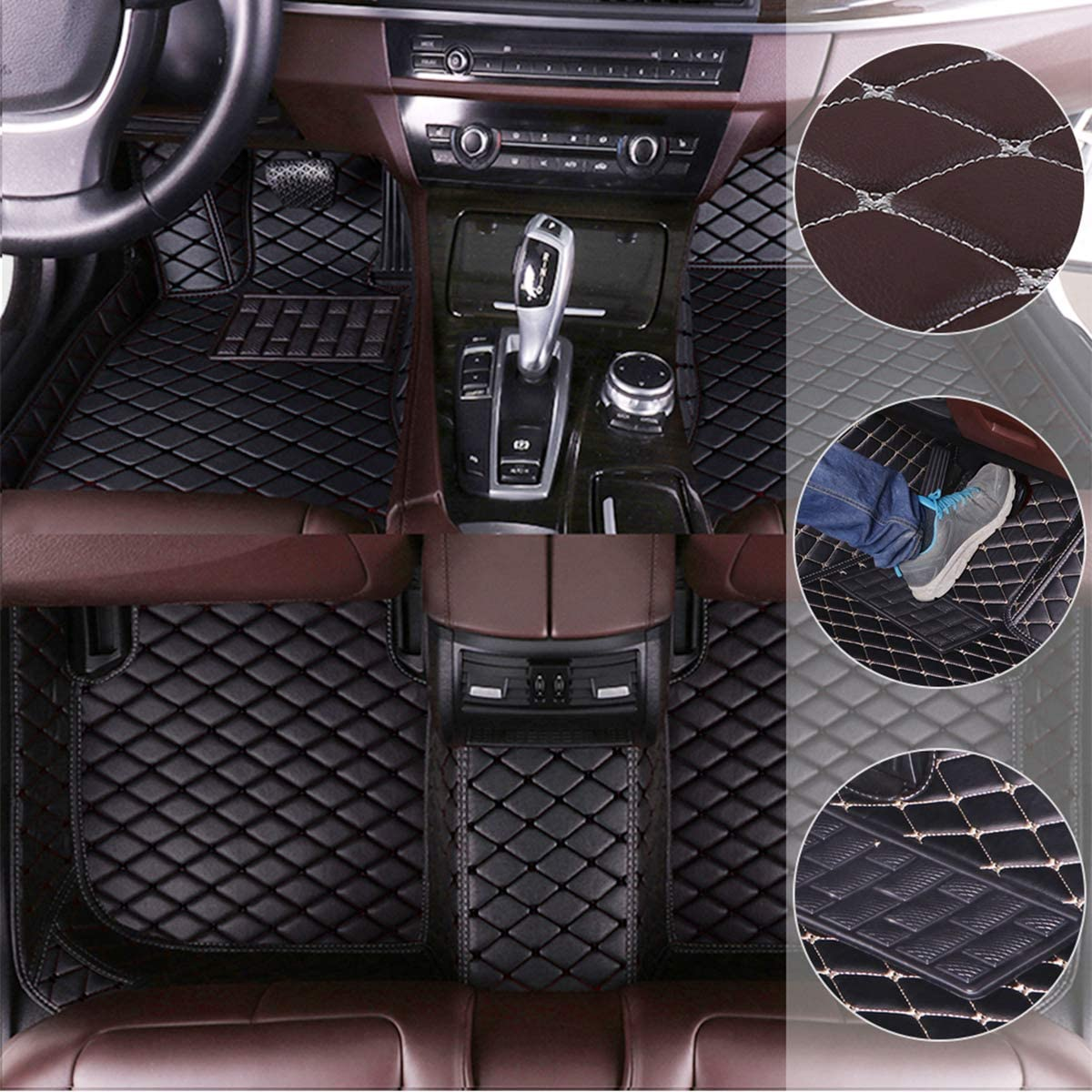 Car Floor Mats for Mercedes Benz ML-Class AMG 63 2008-2012 Custom Leather mat Full Surrounded Cargo Liner All Weather Protection Waterpoof Non-Slip Set Left Drive Black