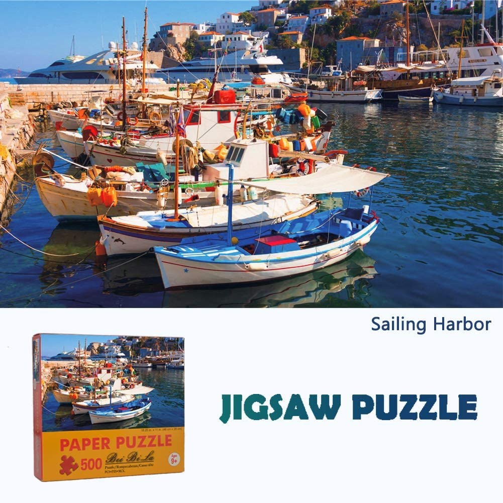 Jigsaw Puzzles for Adults 500 Piece - Puzzle Game Gifts for Kids and Families Great View in The Sailing Harbor of Santorini
