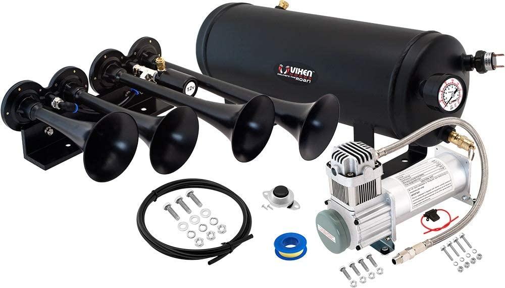 Vixen Horns Train Horn Kit for Trucks/Car/Semi. Complete Onboard System- 200psi Air Compressor, 1.5 Gallon Tank, 4 Trumpets. Super Loud dB. Fits Vehicles Like Pickup/Jeep/RV/SUV 12v VXO8315/4124B
