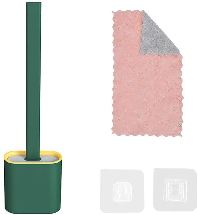 Silicone Flex Toilet Brush with Holder, No-Slip Long Handle Toilet Bowl Cleaner Brush Set,Standing Holder & Wall Mounting Cleaning Brush Set with Absorbent Towel (Green)