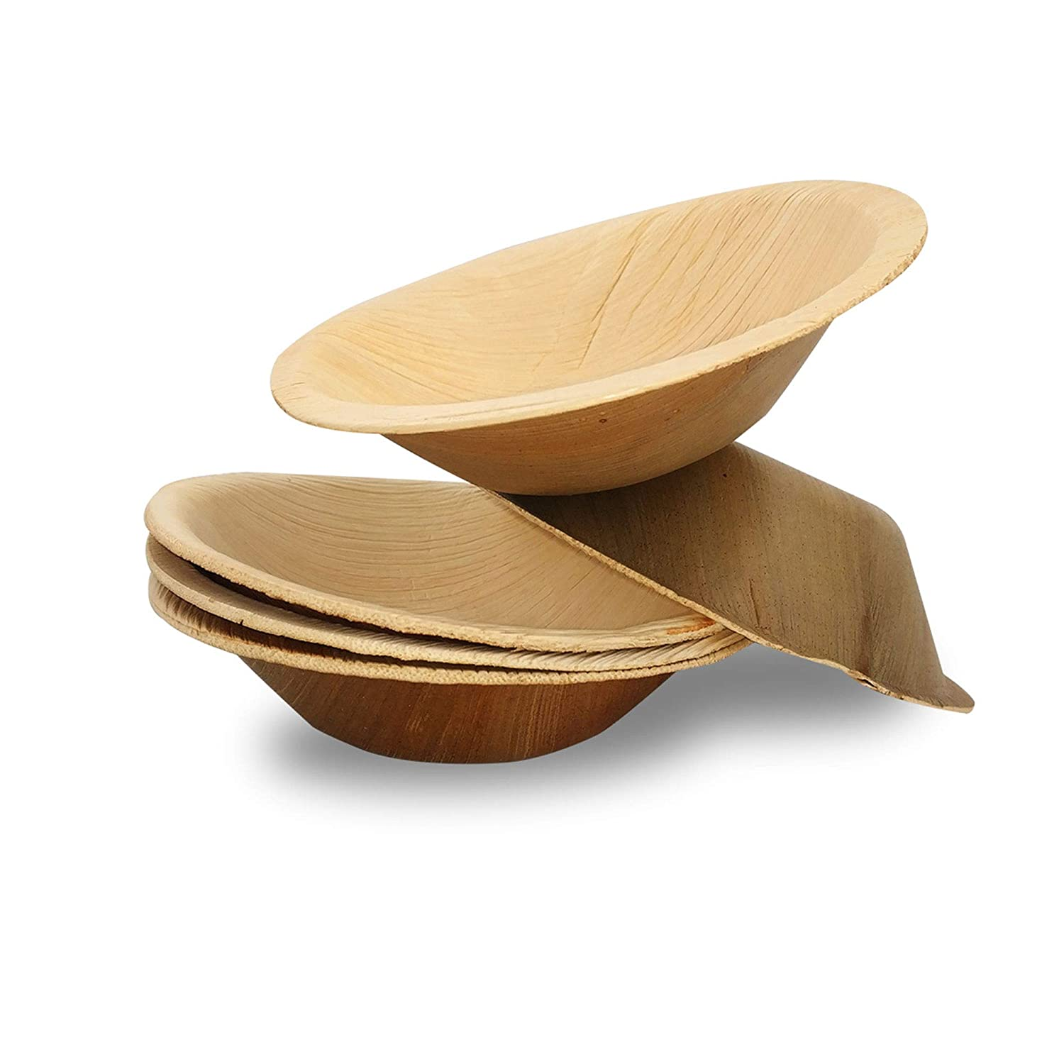 Dtocs Palm Leaf Bowl 5 Inch Round (Pack 50) | Eco-Friendly, Biodegradable, Organic, Compostable Disposable Dinnerware Set For Wedding, Camping, Birthday Parties | Better Than Bamboo, Wooden