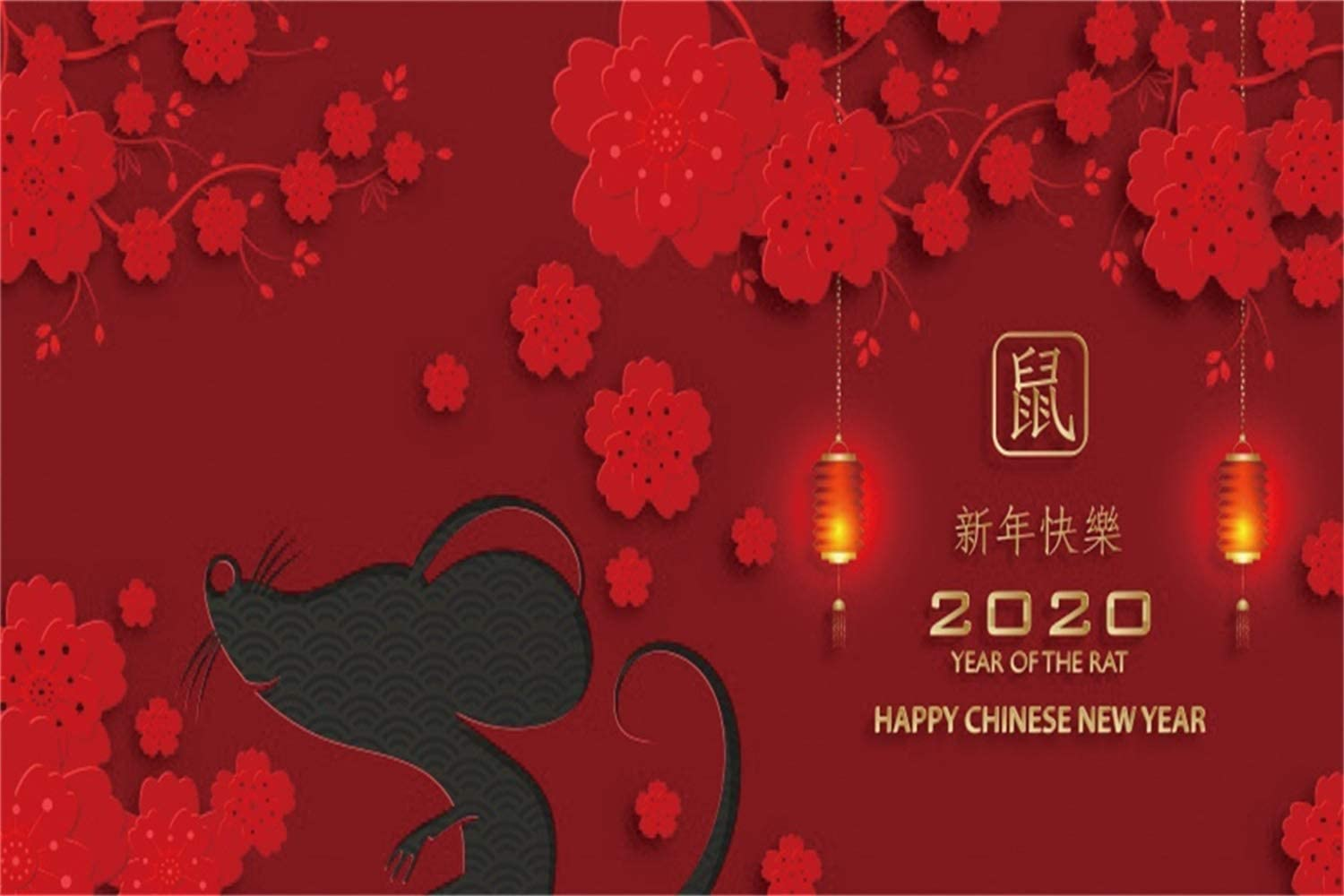 Leowefowa 12x8ft Happy Chinese New Year 2020 Year of The Rat Backdrop Vinyl Cute Mouse Sketch Red Flowers Lanterns Photography Background New Year Carnival Party Banner Greeting Card Studio