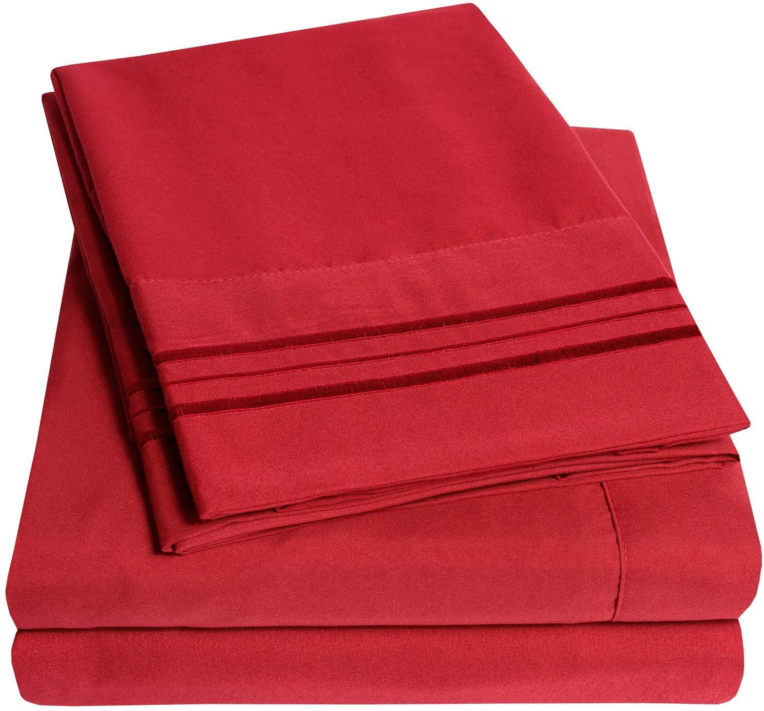 1500 Supreme Collection Bed Sheet Set - Extra Soft, Elastic Corner Straps, Deep Pockets, Wrinkle Free, Hypoallergenic Sheets Set, Luxury Hotel Bedding, King, Red