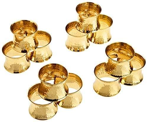 SKAVIJ Metal Solid Hammered Napkin Rings Set for Dining Table Decoration (Dia-1.5 Inch, Gold, 50)