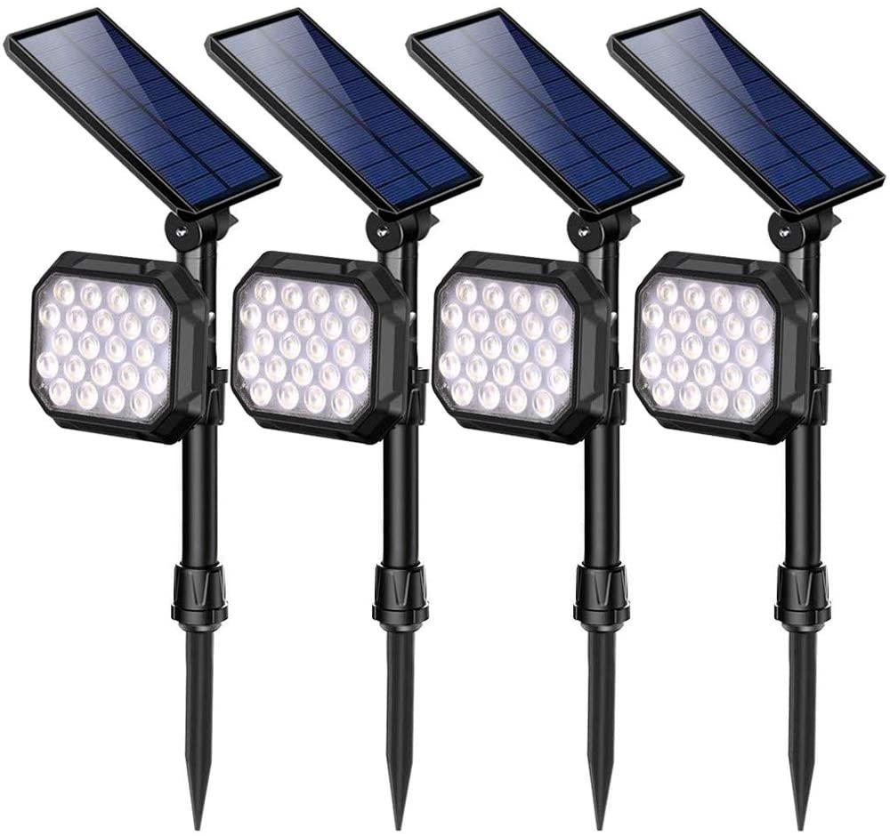 ROSHWEY Solar Spot Lights Outdoor, 22 LED Bright Landscape Light Waterproof Security Lamps for Yard, Pathway, Walkway, Garden, Driveway - Cool White, 4 Pack