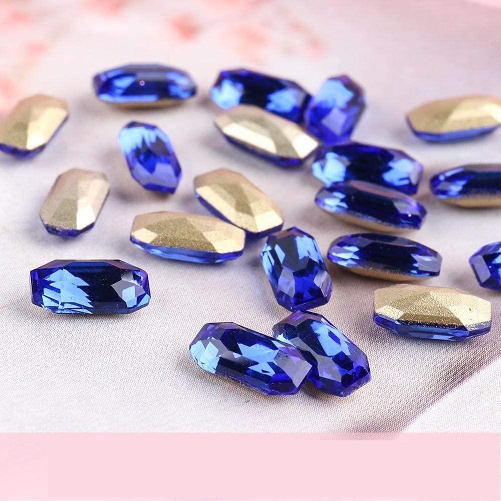 20pcs AB Glass Nail Rhinestone Diamond Gems Long Octagon Crystal Stones Shiny Strass 3D Glitter Nail Art Decorations (Sapphire)