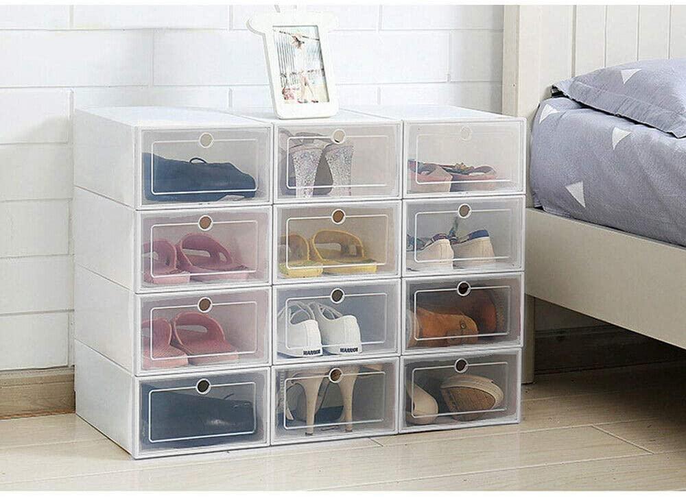 APATEN AP1050 12Pcs Foldable Shoe Box Storage Plastic Transparent Case Stackable Organizer (White)