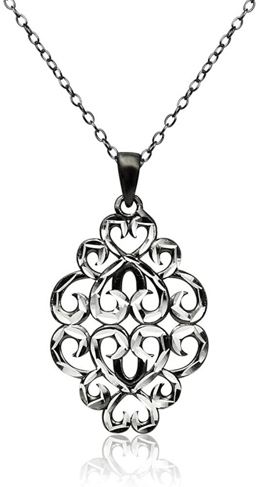 Sterling Silver Diamond-cut Filigree Swirl Hearts Necklace