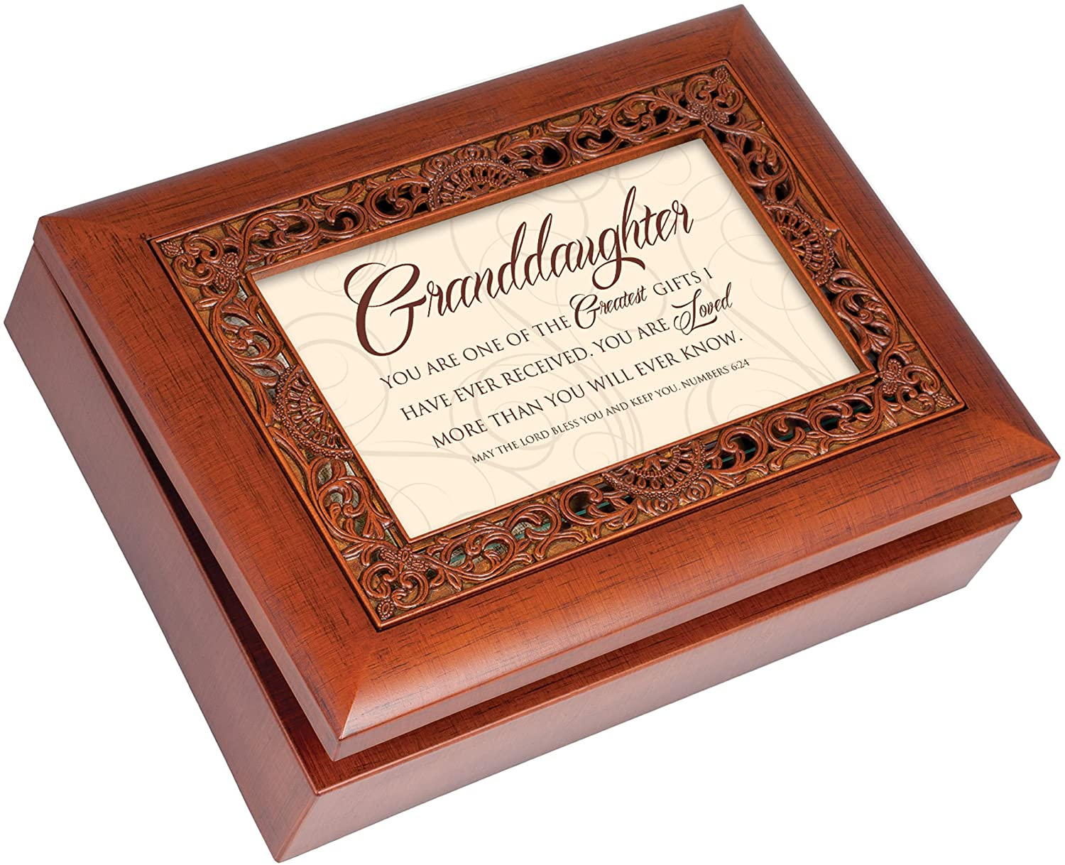 Cottage Garden Granddaughter Greatest Gifts Ever Woodgrain Inlay Jewelry Music Box Plays How Great Thou Art