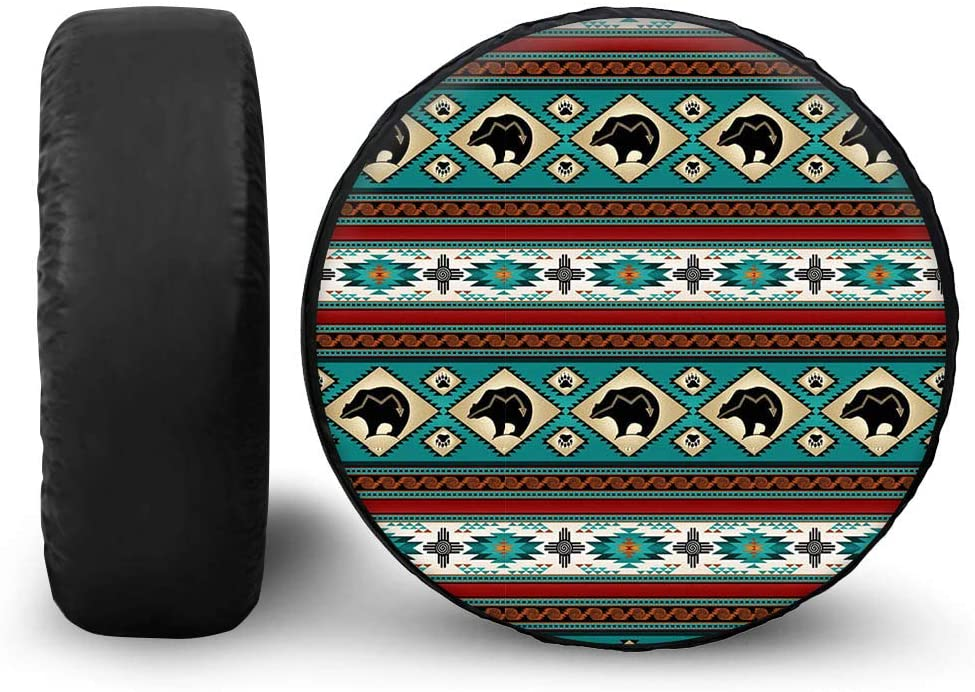 chaqlin Tire Covers Spare Tire Cover Sun Protector Waterproof Wheel Cover Universal Fit for Trailer, RV, SUV, Truck Native Southwest Navajo Aztec Tribal Horse Print