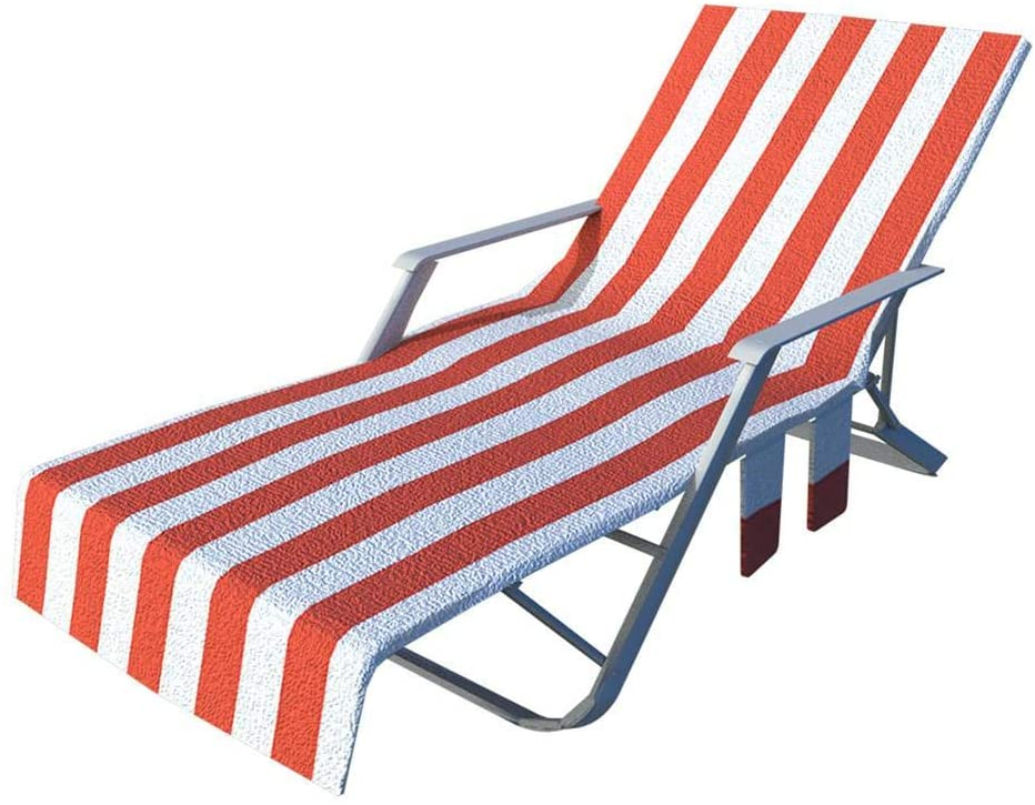 Obobb Pool Chair Cover Beach Lounge Chair Towel with Side Storage Pockets for Holidays Sunbathing
