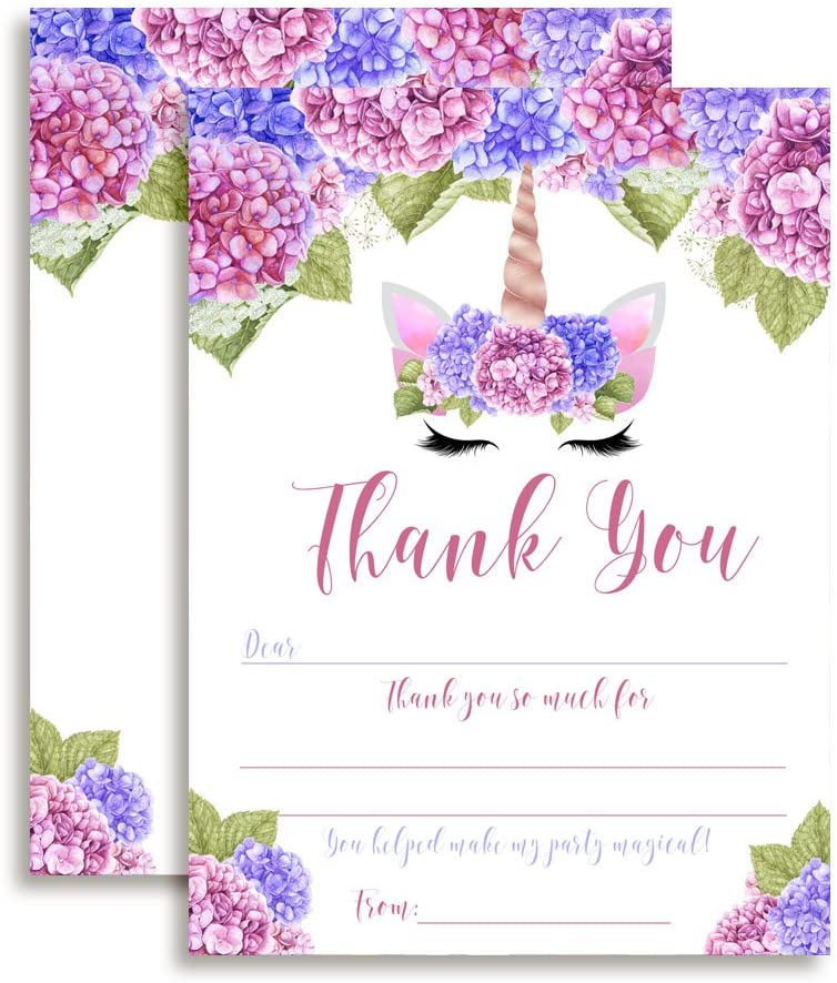 Unicorn Face Birthday Thank You Notes for Girls with Blue and Purple Hydrangea Flowers, Ten 4